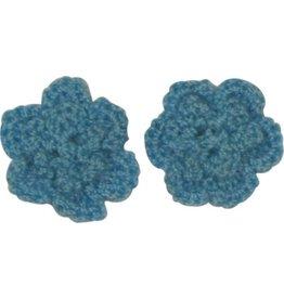 Drukkerapplicatie gehaakte bloempjes (per paar) jeans