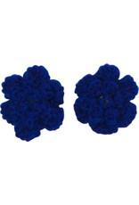 Drukkerapplicatie gehaakte bloempjes (per paar) navy