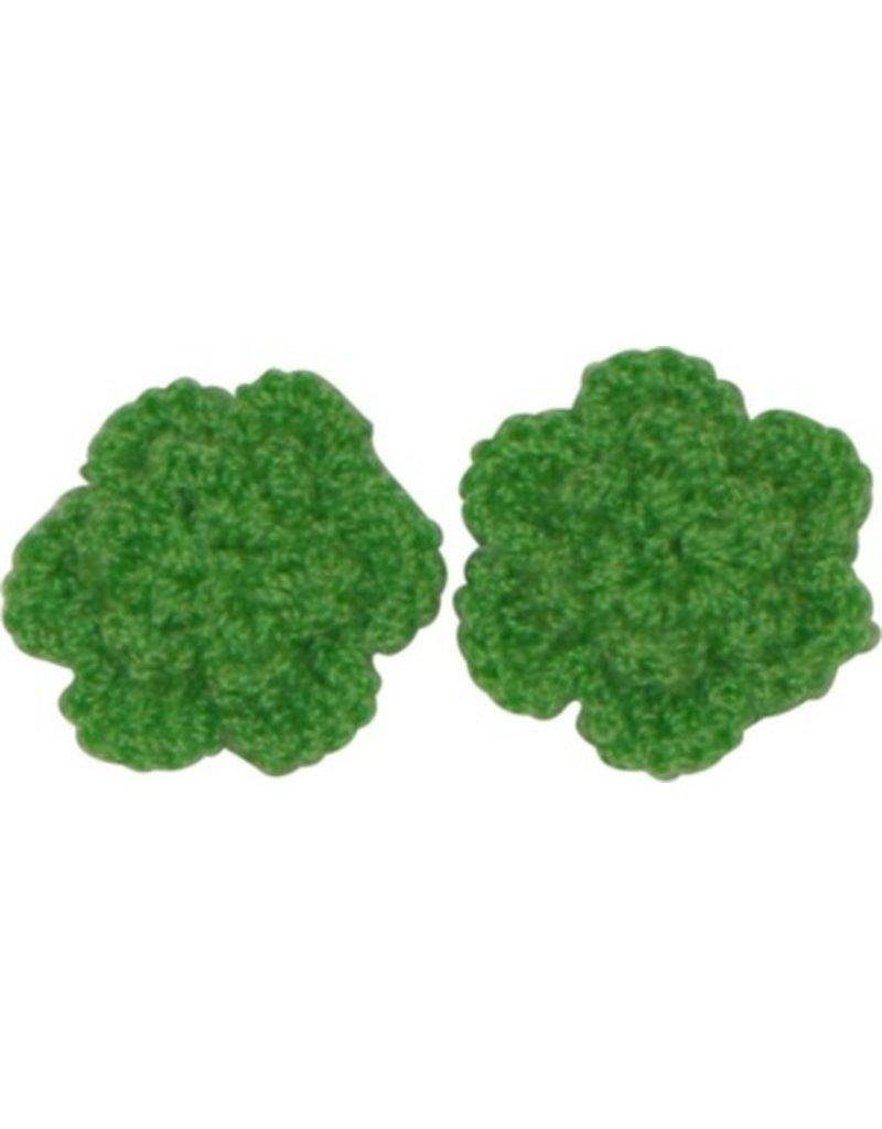 Drukkerapplicatie gehaakte bloempjes (per paar) groen