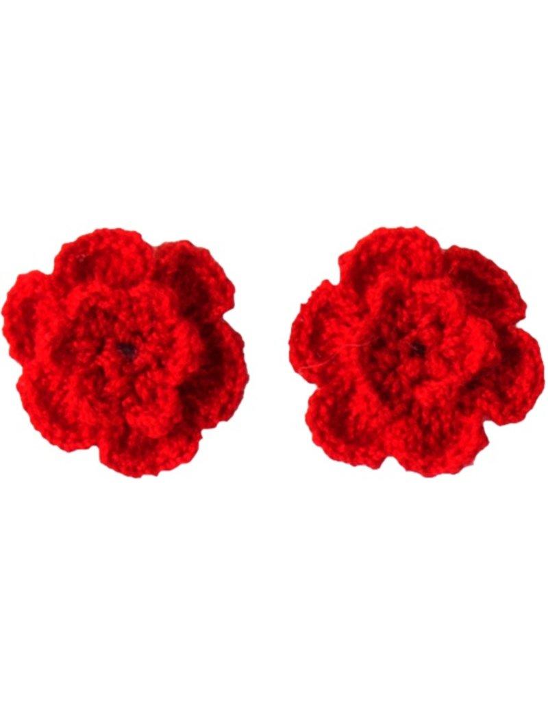 Drukkerapplicatie gehaakte bloempjes (per paar) rood