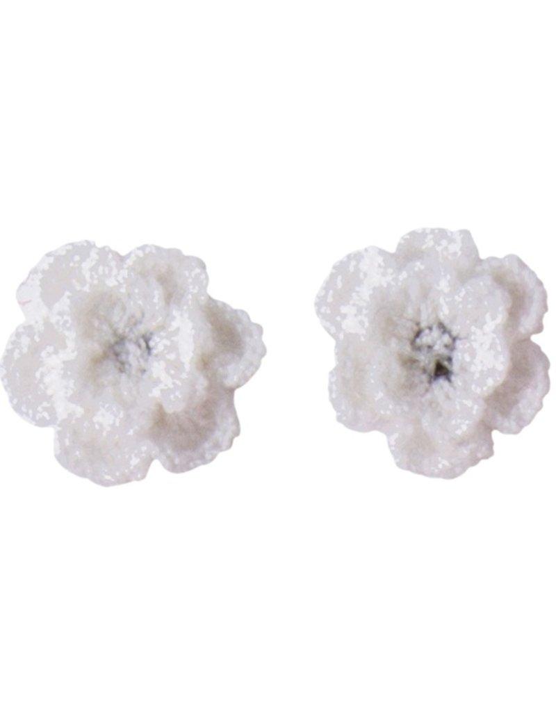Drukkerapplicatie gehaakte bloempjes (per paar) wit