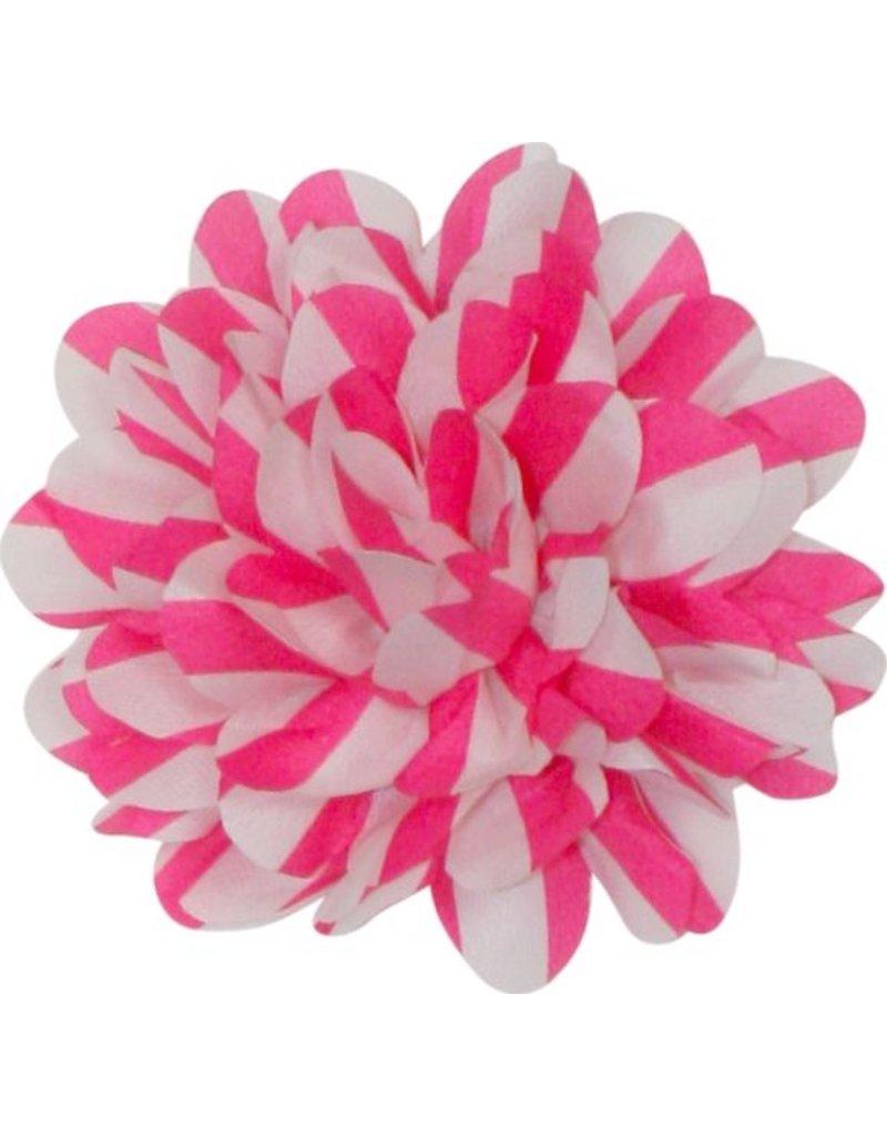 Drukkerapplicatie Gestreepte bloem, roze/wit