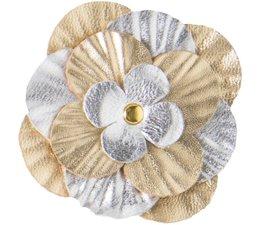 Drukkerapplicatie Lederen roos, zilver/goud