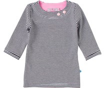 Shirt 'Basic' met driekwart mouw Streep Zwart-wit