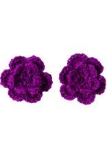 Drukkerapplicatie gehaakte bloempjes (per paar) paars
