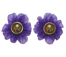 Drukkerapplicatie klein tule bloempje (per paar) paars
