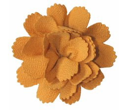 Drukkerapplicatie midi bloem mosterdgeel