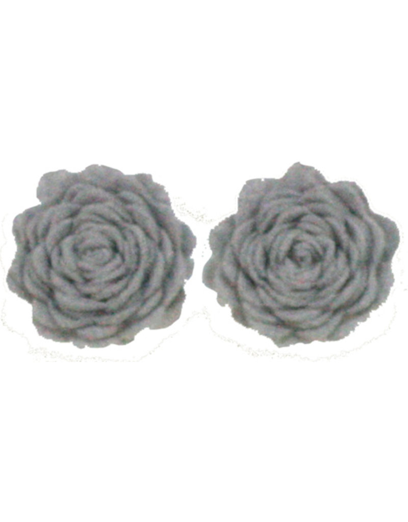 Drukkerapplicatie vilten bloemen (per 2), grijs