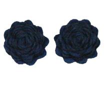 Drukkerapplicatie vilten bloemen (per 2), navy