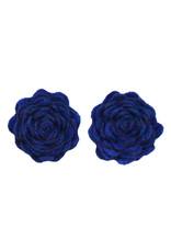 Drukkerapplicatie vilten bloemen (per 2), kobalt