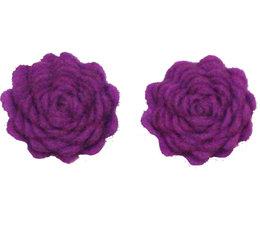 Drukkerapplicatie vilten bloemen (per 2), paars