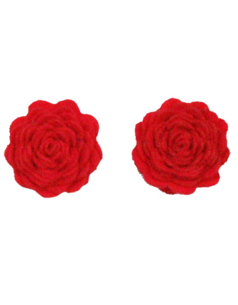 Drukkerapplicatie vilten bloemen (per 2), rood