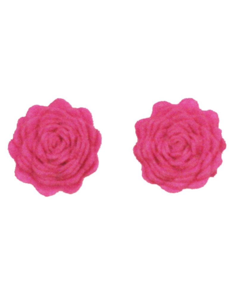 Drukkerapplicatie vilten bloemen (per 2), roze