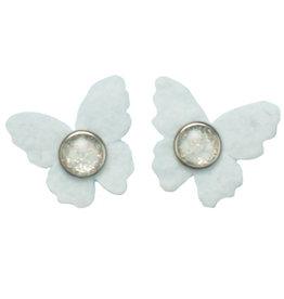 Drukkerapplicatie vilten vlindertjes, wit
