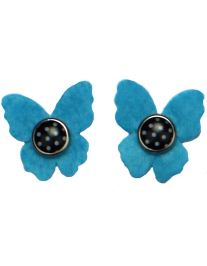 Drukkerapplicatie vilten vlindertjes, blauw