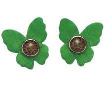 Drukkerapplicatie vilten vlindertjes, groen
