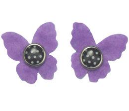 Drukkerapplicatie vilten vlindertjes, paars