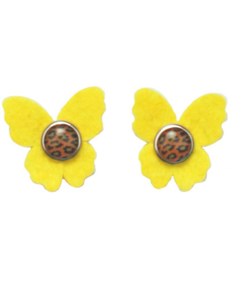 Drukkerapplicatie vilten vlindertjes, geel