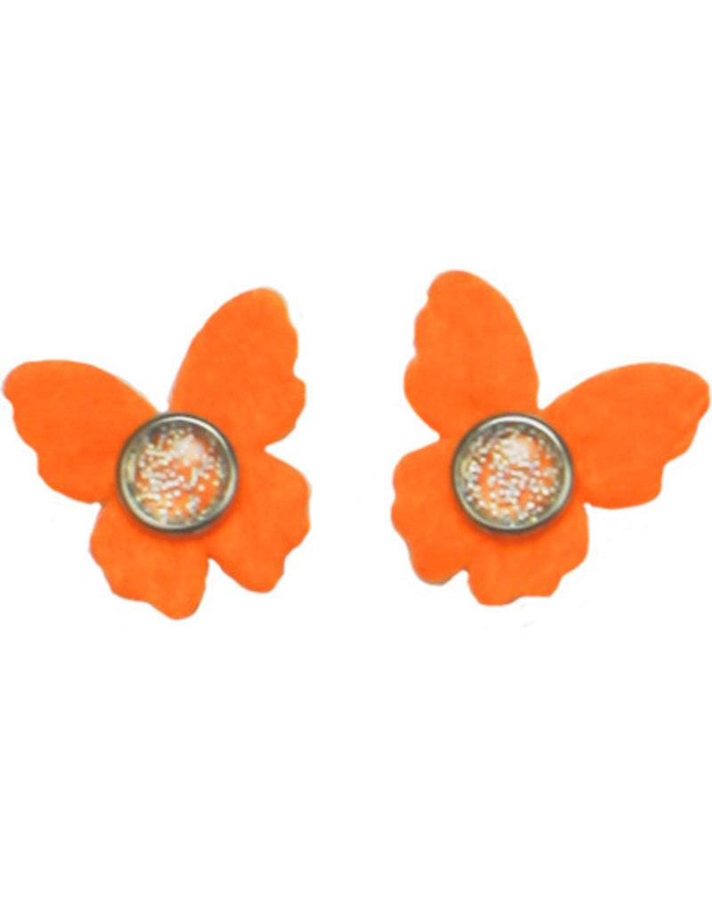 Drukkerapplicatie vilten vlindertjes, oranje