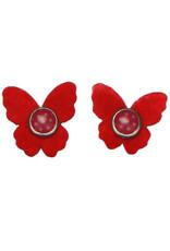 Drukkerapplicatie vilten vlindertjes, rood