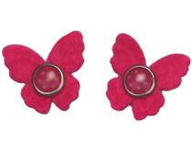 Drukkerapplicatie vilten vlindertjes, roze