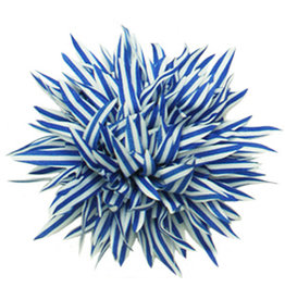 Drukkerapplicatie Gestreepte bloem spits, kobalt-wit