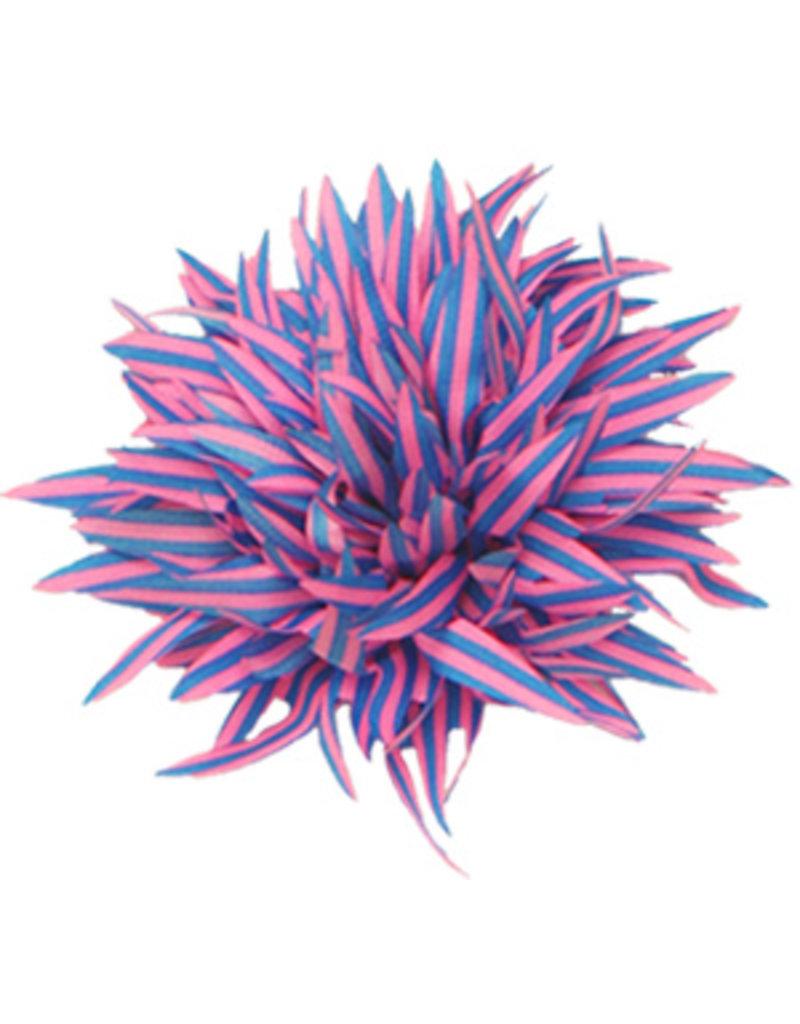 Drukkerapplicatie Gestreepte bloem spits, blauw-roze