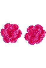 Drukkerapplicatie gehaakte bloempjes (per paar) fuchsia