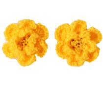 Drukkerapplicatie gehaakte bloempjes (per paar) okergeel