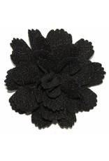 Drukkerapplicatie midi bloem zwart