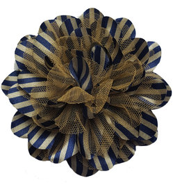 Drukkerapplicatie Gestreepte bloem, navy-bruin