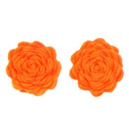 Drukkerapplicatie vilten bloemen (per 2), oranje