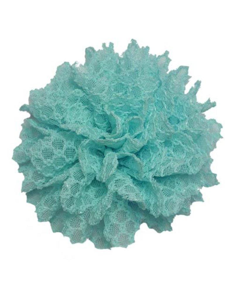 Drukkerapplicatie Kanten bloem, turquoise