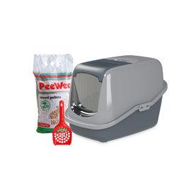 PeeWee Startpakket EcoHus kattenbak antraciet-grijs
