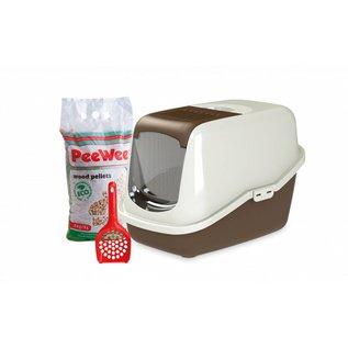 PeeWee Startpakket EcoHus kattenbak bruin-ivoor