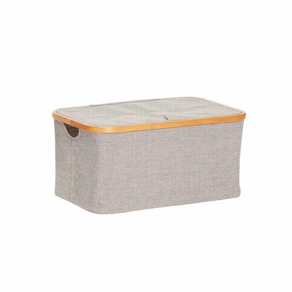 Hubsch opbergbox bamboe/textiel grijs - 45x30xh22 cm.  grijs