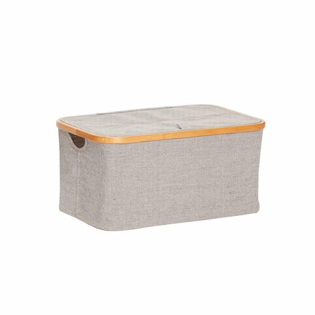 Hubsch opbergbox bamboe/textiel grijs - 45x30xh22 cm