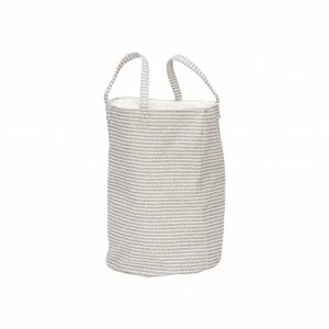 Hubsch wasmand textiel strepen grijs/wit - ø35x50 cm