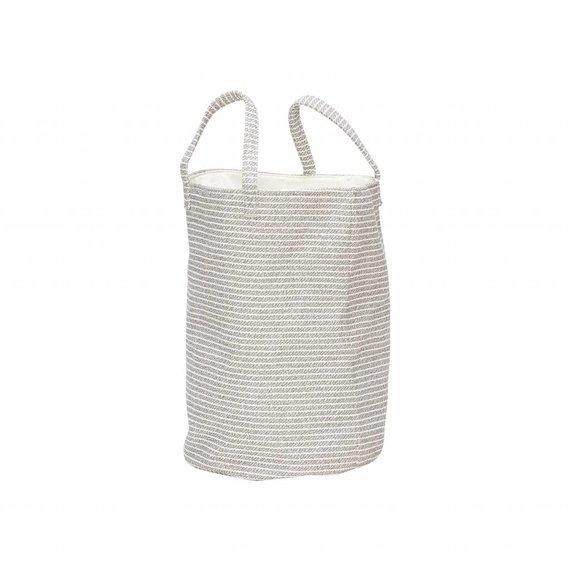 Hubsch wasmand textiel strepen grijs/wit - ø35x50 cm.  grijs