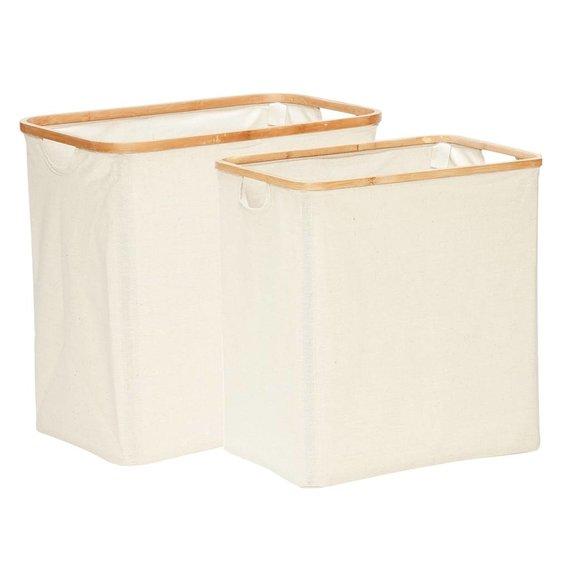 Hubsch wasmand, bamboe/textiel, rechthoek - set van 2.  beige