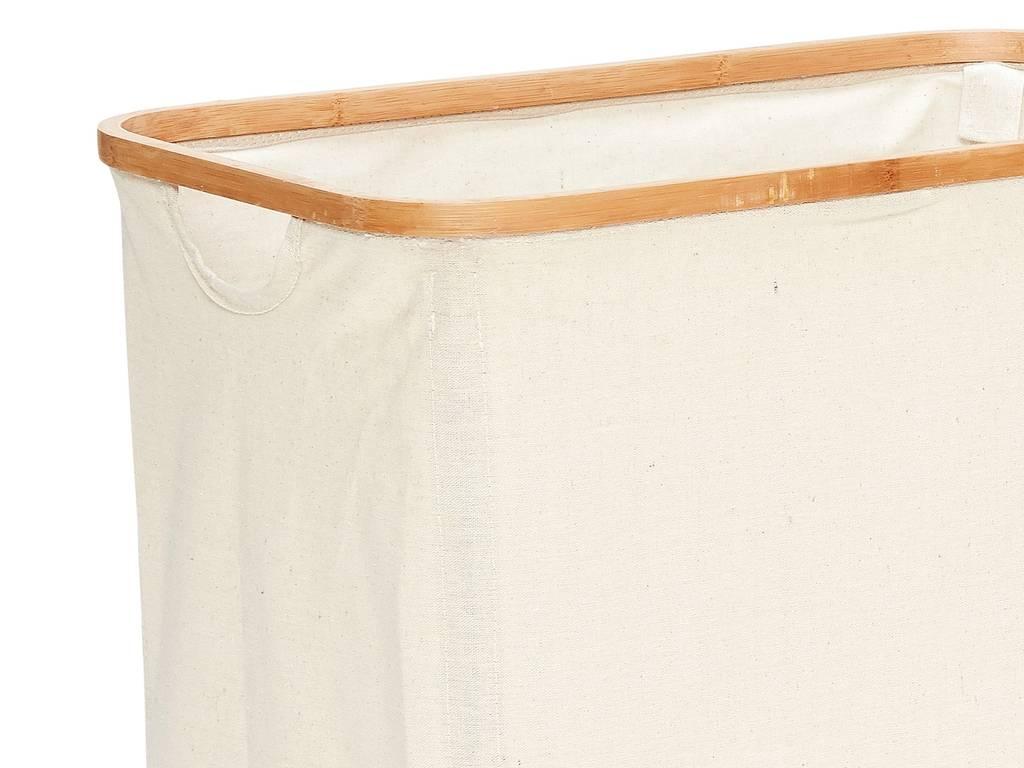 Hubsch wasmand, bamboe/textiel, rechthoek - set van 2