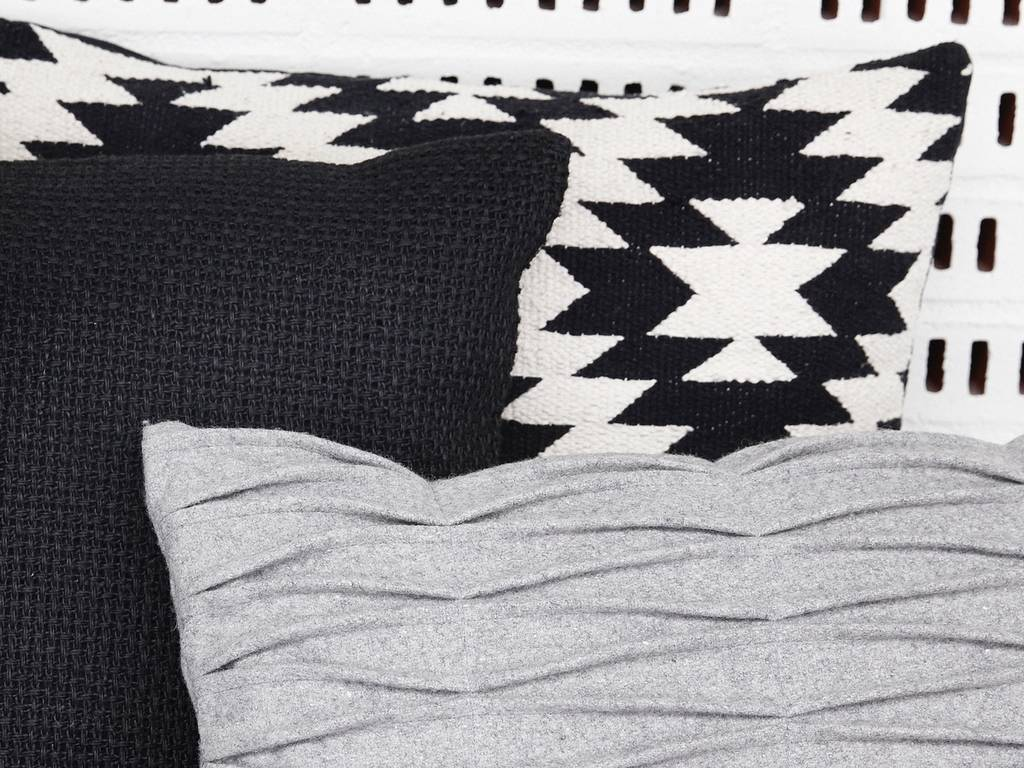 Hubsch kussen, katoen, zwart/wit