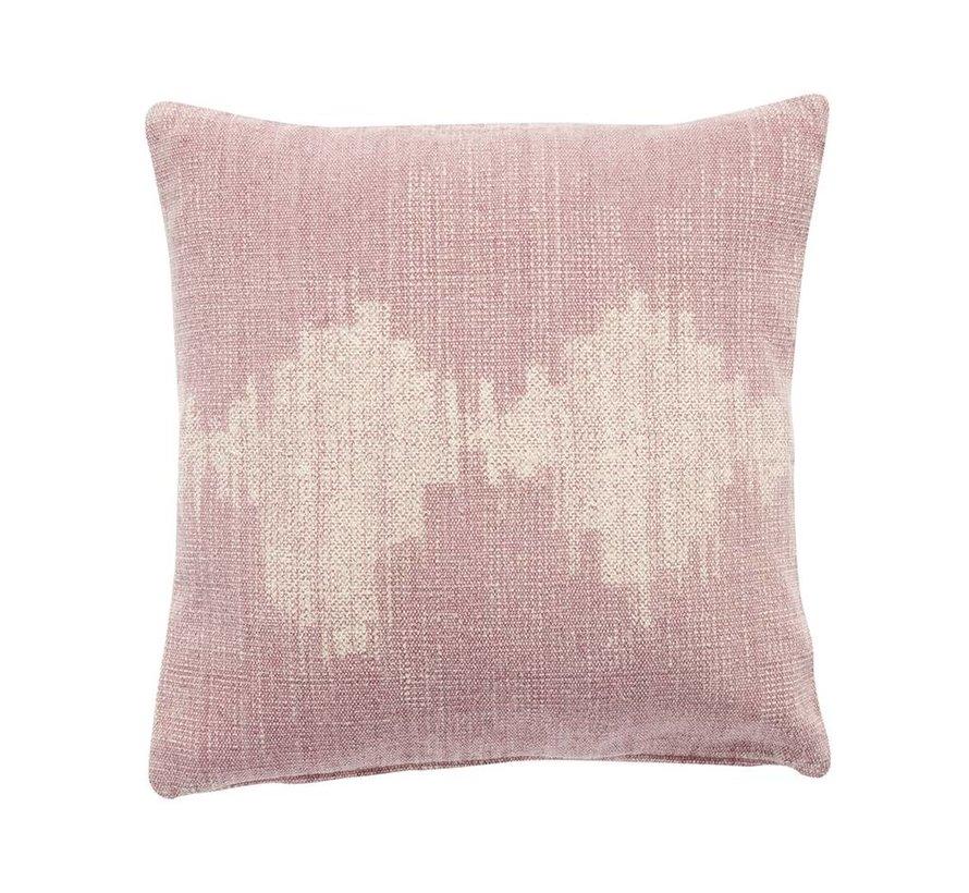 kussen, katoen, roze/crème
