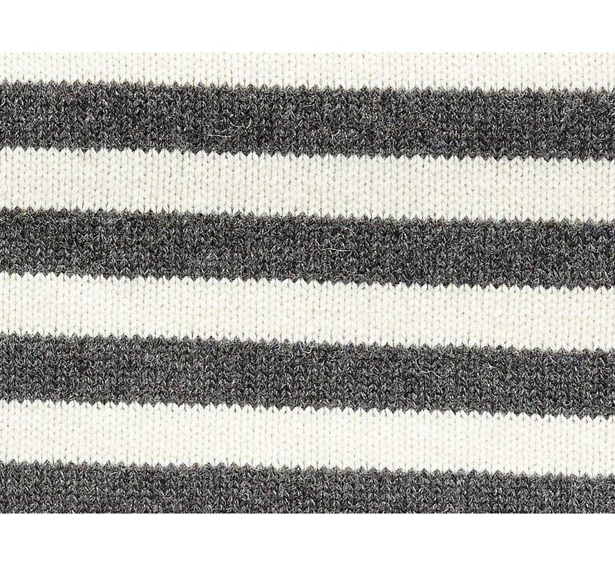 plaid, lamswol, zwart/wit strepen, 130x200cm