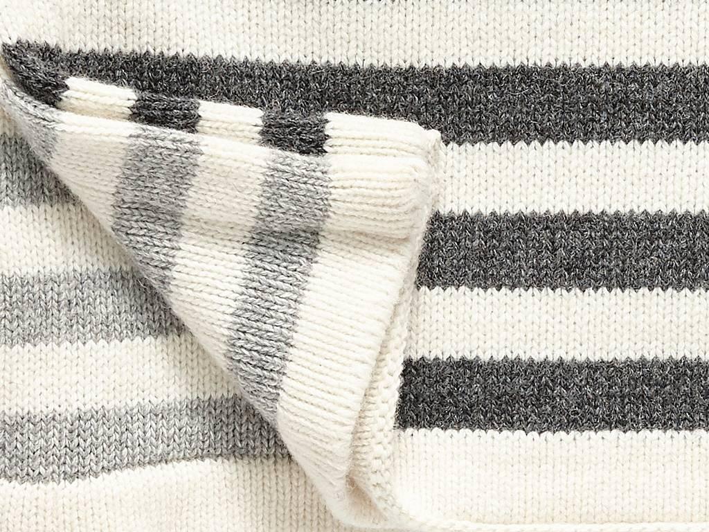 Hubsch plaid, lamswol, zwart/wit strepen, 130x200cm