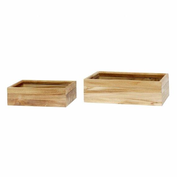 Hubsch opbergbox hout/glas 2 st..  bruin
