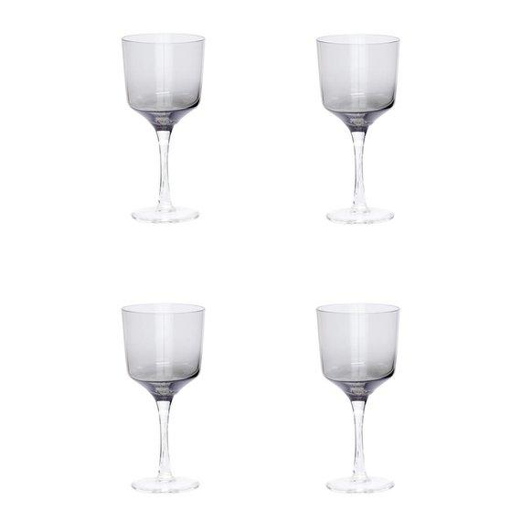 Hubsch wijnglazen witte wijn - grijs glas - 4st..  transparant