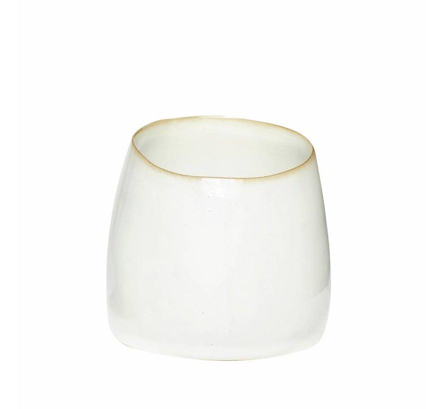 beker wit keramiek - ø9 x h8 cm