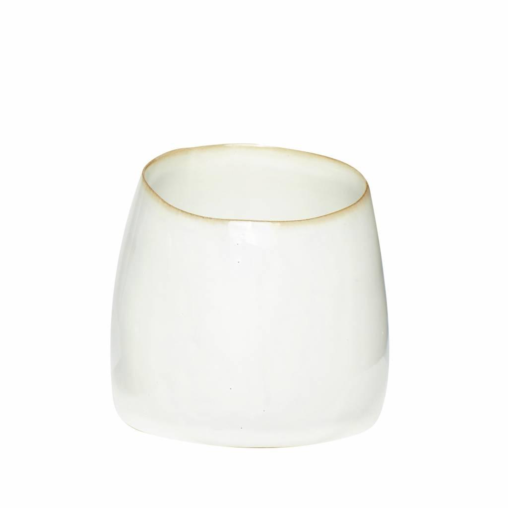 Hubsch beker wit keramiek - ø9 x h8 cm