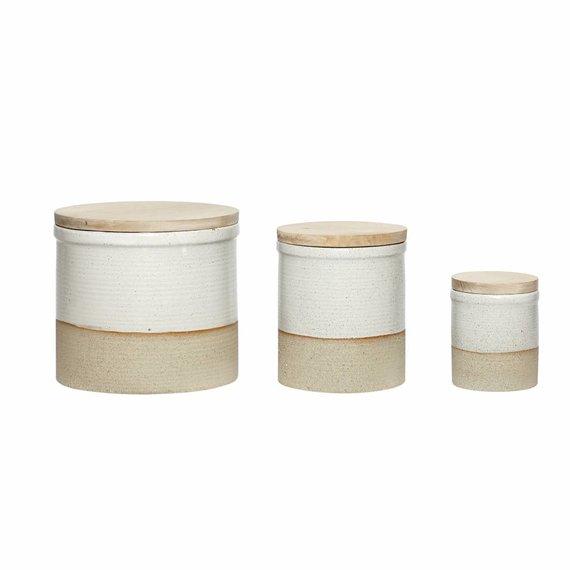 Hubsch voorraadpot keramiek/hout 3 st..  wit